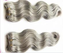 Virgin brazilian human hair weaves body wave 2bundles/lot free shipping mixed length hair extensions gray human hair