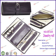 china factory price wholesale jewelry organizers for leather jewelry roll with zipper C01-625