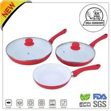 FDA&LFGB 3 Pieces Green Life Ceramic/Marble Coating Aluminum Cheap Fry Pan