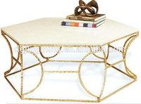 Gold Leaf Cream Marble Hexagonal Coffee Table