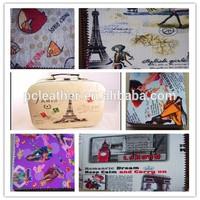 Durable & Fashion faux pvc printed leather new design for Portmanteau
