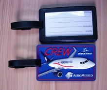 airplane design luggage tag, Mexico airline baggage tag, 3D airplane PVC luggage tag