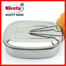 square stainless steel food container tiffin carrier with handle