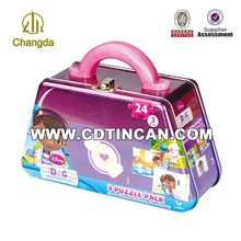 Metal tin lunch box with handle