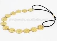 H794-113 fashion gold fancy elastic decorative beauty coin headband