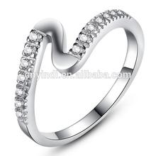 Latest 2015 Valentine's Gift Fashion Creative Europe and America Jewelry White Gold P Rhinestone Women Wedding Ring