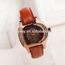 2014 hot sale fashion D shape dial leather watch
