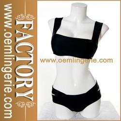 Ladies Cheap Strappy Black Open Swimwear Beachwear