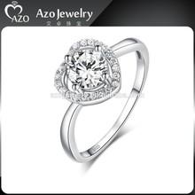 Fashion 925 Sterling Silver Heart Shaped Diamond Rings