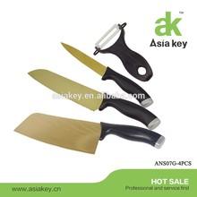 Golden Titanizing 4pcs S.S Kitchen Knife Set, Imitating Damascus