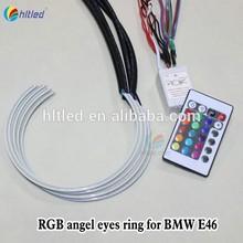4x 131mm LED RGB Car Angel Eyes Light Headlight Halo Ring plus Remote Control
