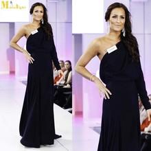 ED-552 Miss World 2014 Fashion Design Elegant A Line Floor Length Satin Evening Dresses One Sleeve