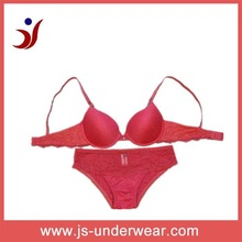 red underwear sexy bra and panty new design satin lingerie made for China bra factory (Accept OEM)