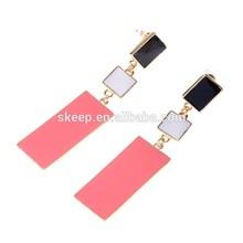 Fashion jewelry earrings big temperament long simple casual collision color drip OL female model big earrings. SKJ369