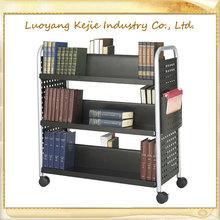 rolling book cart books cart library book trolley 3-tier wood-steel library book trolley rolling library cart