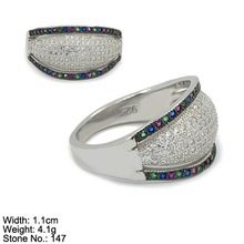 RZ3-0092 Unique Ring Design Green Magenta Sapphire Color CZ Woman Jewelry