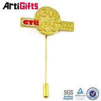 Custom logo metal long needle lapel pins
