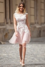 SL-021047 Beautiful A-line Sweetheart White Appliqued Lace Knee-length Cocktail Dress
