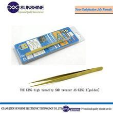 Mechanic high-quality SMD golden stainless steel tweezer for electronics eyebrow tweezer
