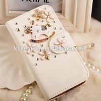 Luxury 3D Rhinestone Bling case for Iphone 6 Plus,diamond PU leather case for iphone 6 plus