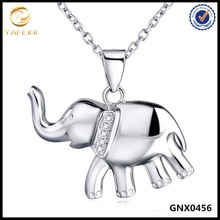 Lastest Design Gold Plated Simple Elephant Necklace Silver Lucky Jewelry