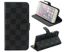 Fashion Designer Grid Leather Wallet Flip Cover Skin Case for iphone 6 with stand and card slot