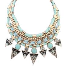 fashion triangle necklace epoxy necklace with crystal jewelry