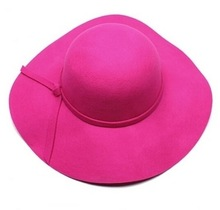 Ladies wool felt hat with big brim; 4 styles available