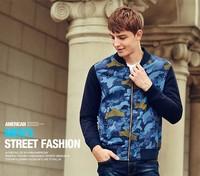 Fashion camo fleece digital printed baseball jacket for mens