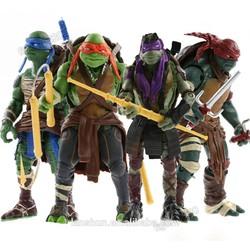 """4x Teenage Mutant Ninja Turtles TMNT Da Vinci/Raphael/Mikey/Donatello 5"""" Action Figure Loose"""