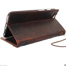 book wallet Genuine flip Leather Case for Iphone 6 Plus ,for iphone 6 genuine leather case