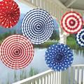 Eua tema vermelho branco azul& manchas& listras ventilador pendurado decoração 6 x