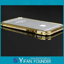 For apple iphone 6 gold plating with diamonds , diamond casing for iphone 6 gold