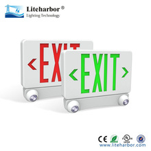 red or gree color letter ABS rechargeable LED recessed exit sign