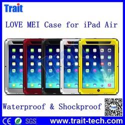 LOVE MEI Waterproof Shockproof Powerful Metal+Aluminium+Gorilla Glass Hybrid Case for iPad Air
