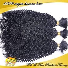 Hot sales in USA human hair guaranteed top quality 6A kinky curl hair bulk original brazilian human