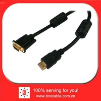 HDMI Type A Male to VGA 15 Pin Male Cable Black for PC TV