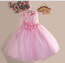 KIDS GIRLS HIGH QUALITY FLOWER PINK PARTY DRESS,WEDDING DRESS