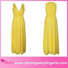 Yellow Elegant Spanish Style V Neck Side Split Chiffon Evening Dress Www Sex Image .Com