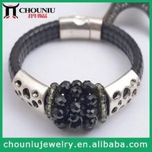 2014 Top Selling Wholesale Bangles Design Black Beaded Leather Magnetic Bracelet
