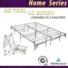 """HIGHRISE Folding Metal Bed Frame 14"""" High Bi-Fold Platform Bed Base and Box Spring"""