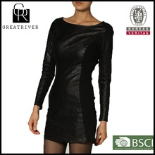 cheap price 2014 ladies faux leather dress black sexy leather casual dress with back zipper