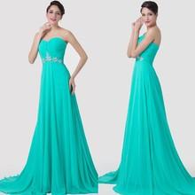 2015 Grace Karin Alibaba Wholesale Sweetheart Neckline Mermaid Long Chiffon Turquoise Evening Dress China Supplier CL6290