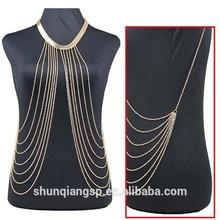 European and American trade hot bikini body tassel chain necklace