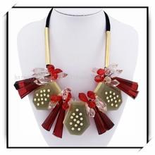 Golden Metal Tube Polygon Resin Pendant Necklace Charm Fashion Jewelry NK339