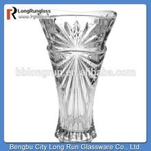 LongRun bohemia crystal star carved flower glass vase for wedding decoration