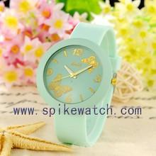 Mint green custom logo butterfly quartz analog jelly ice cream silicone watch
