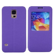 smart battery back cover PU leather phone case with viewing window for Samsung