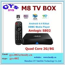 Android tv box 2gb ram 16gb rom Amlogic S802 M8 2.0GHz Quad Core XBMC 13.2 Google Smart TV Box
