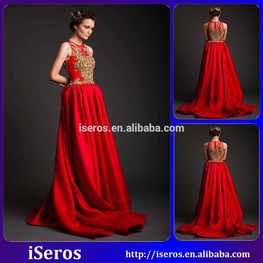 Rojo y vestido de boda del oro